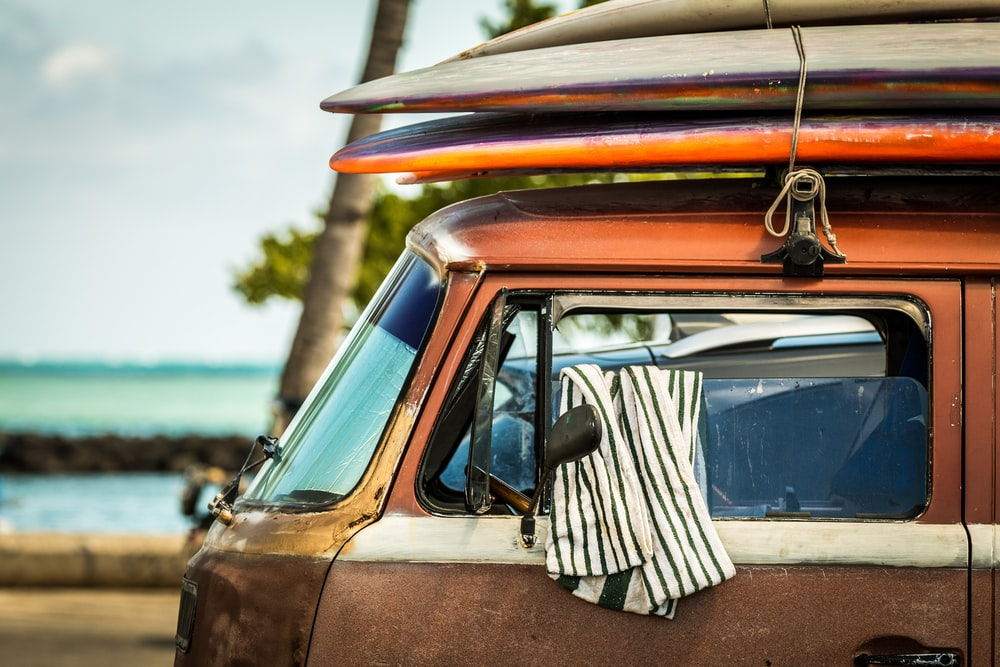 black and white stripe shirt on vehicle window