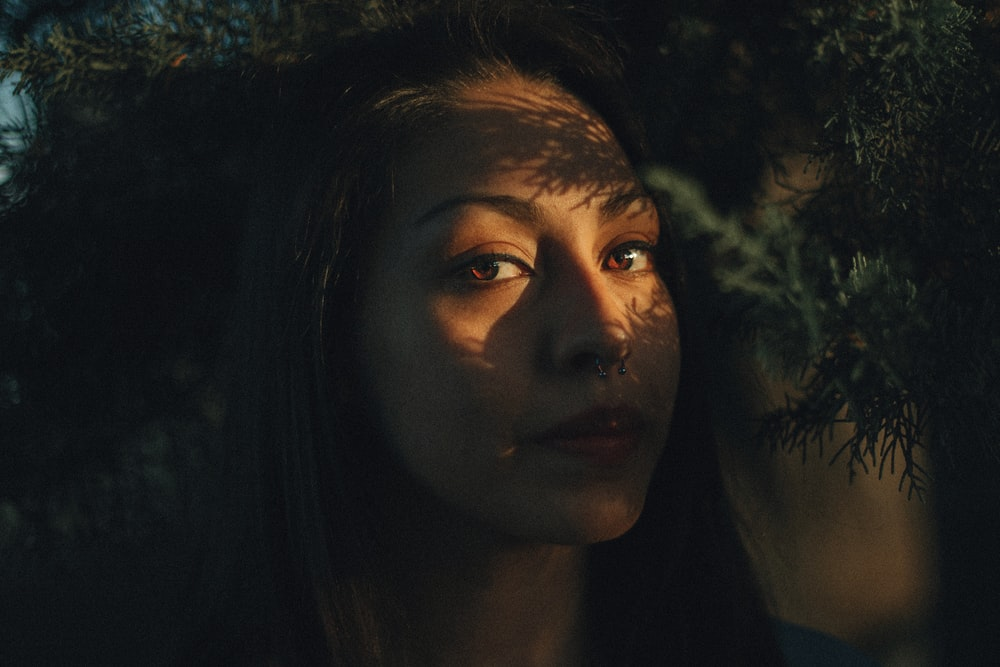 woman's face with shadow