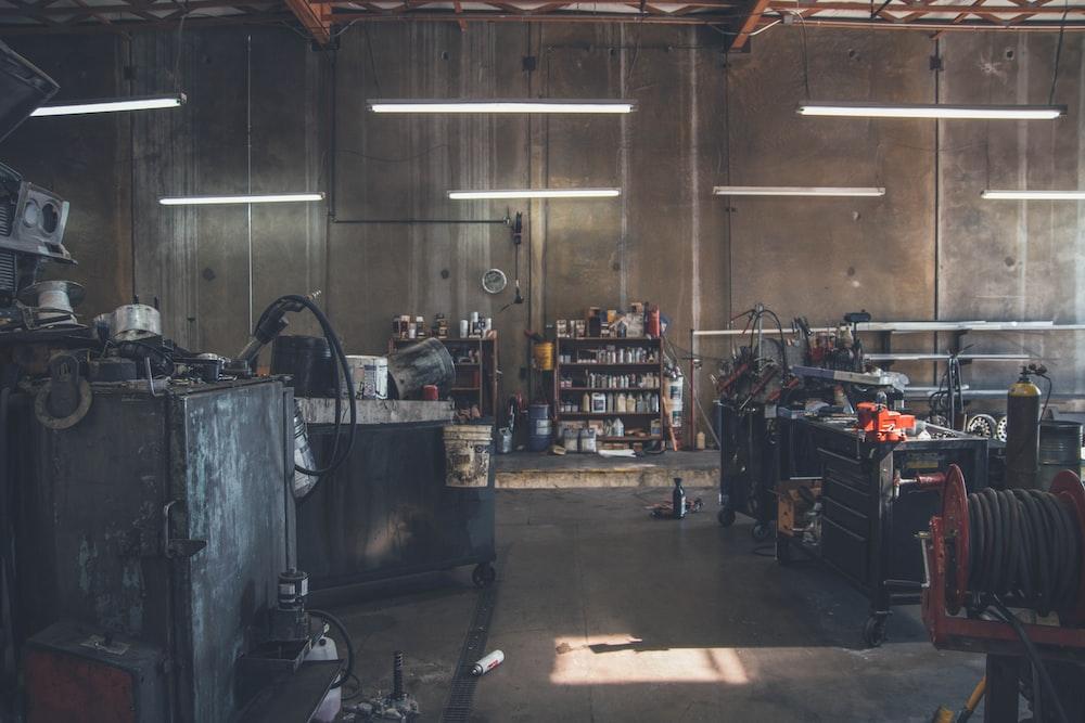 black tool chest near wire spool