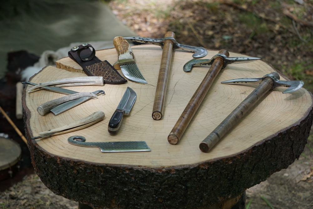 assorted axe and knives