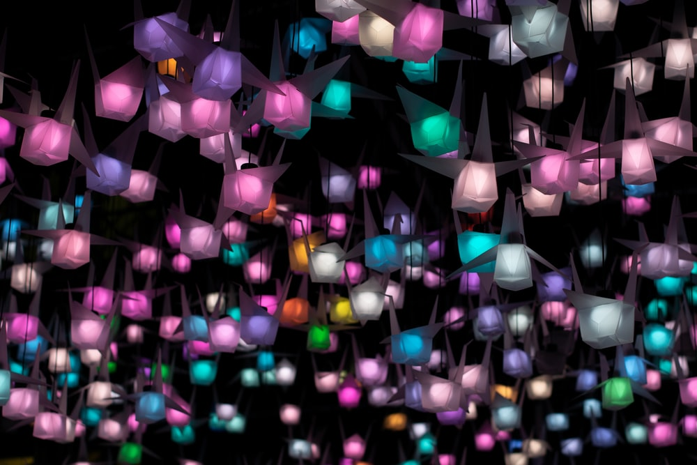assorted-color turned-on string lights