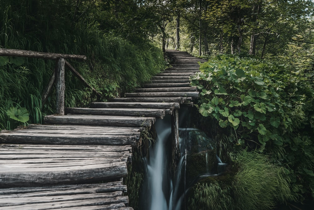 brown stair near waterfalls
