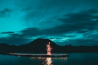 lighted tree decor on wooden dock