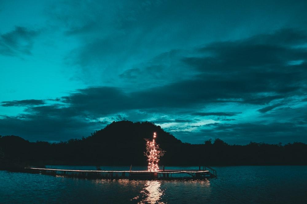 lighted tree decor on wooden dock