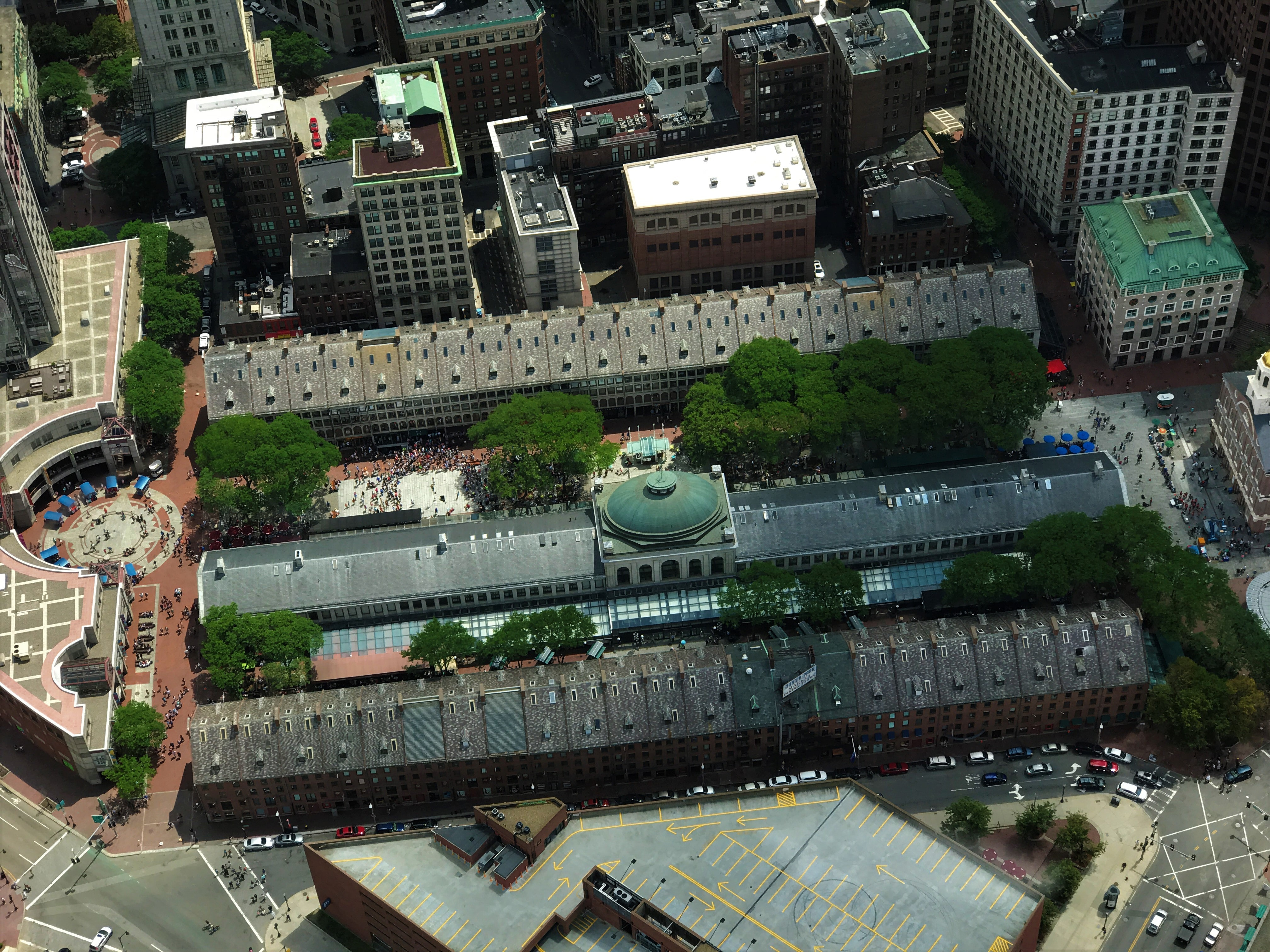 aerial photography of gray and brown building