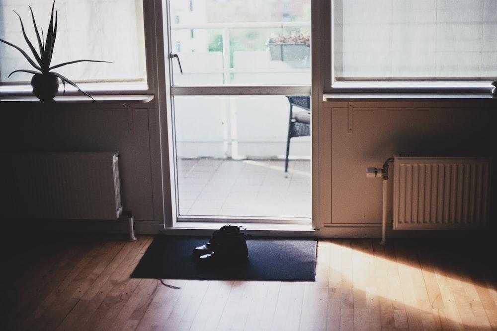 black puppy on door mat inside room