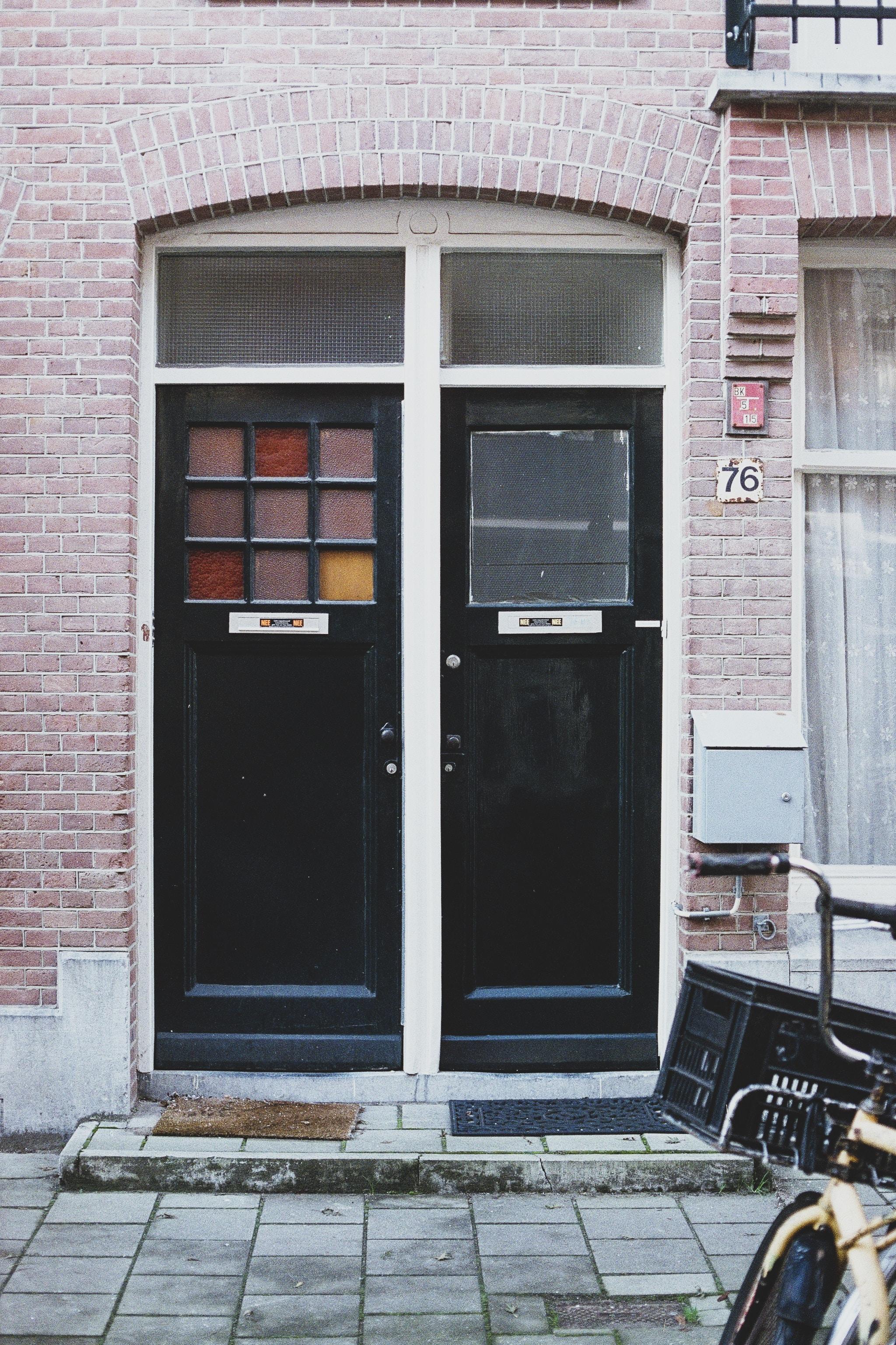 black wooden doors
