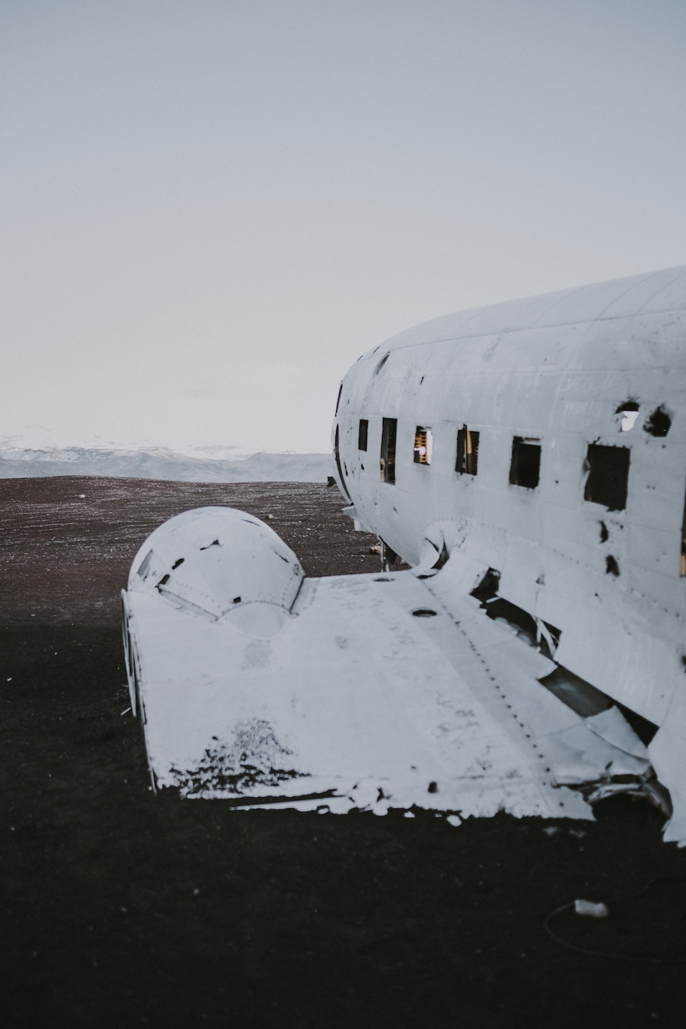 destroyed plane on field