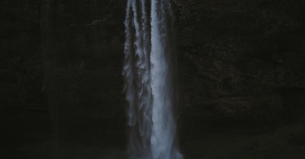 view of waterfalls during night