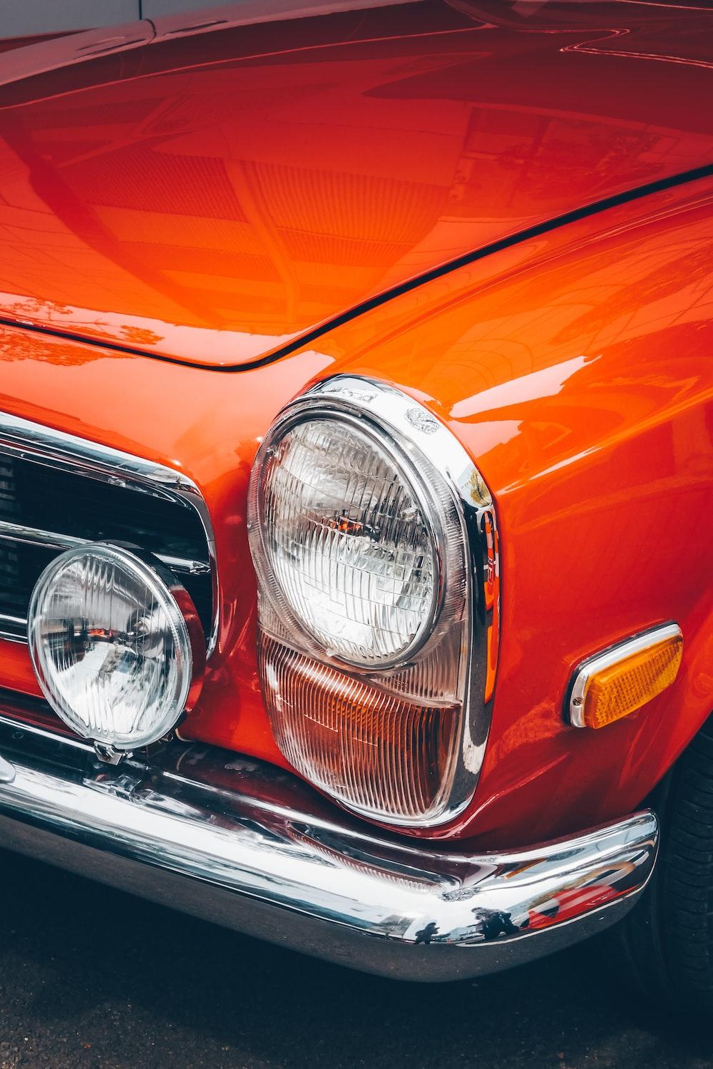 closeup view of orange vehicle