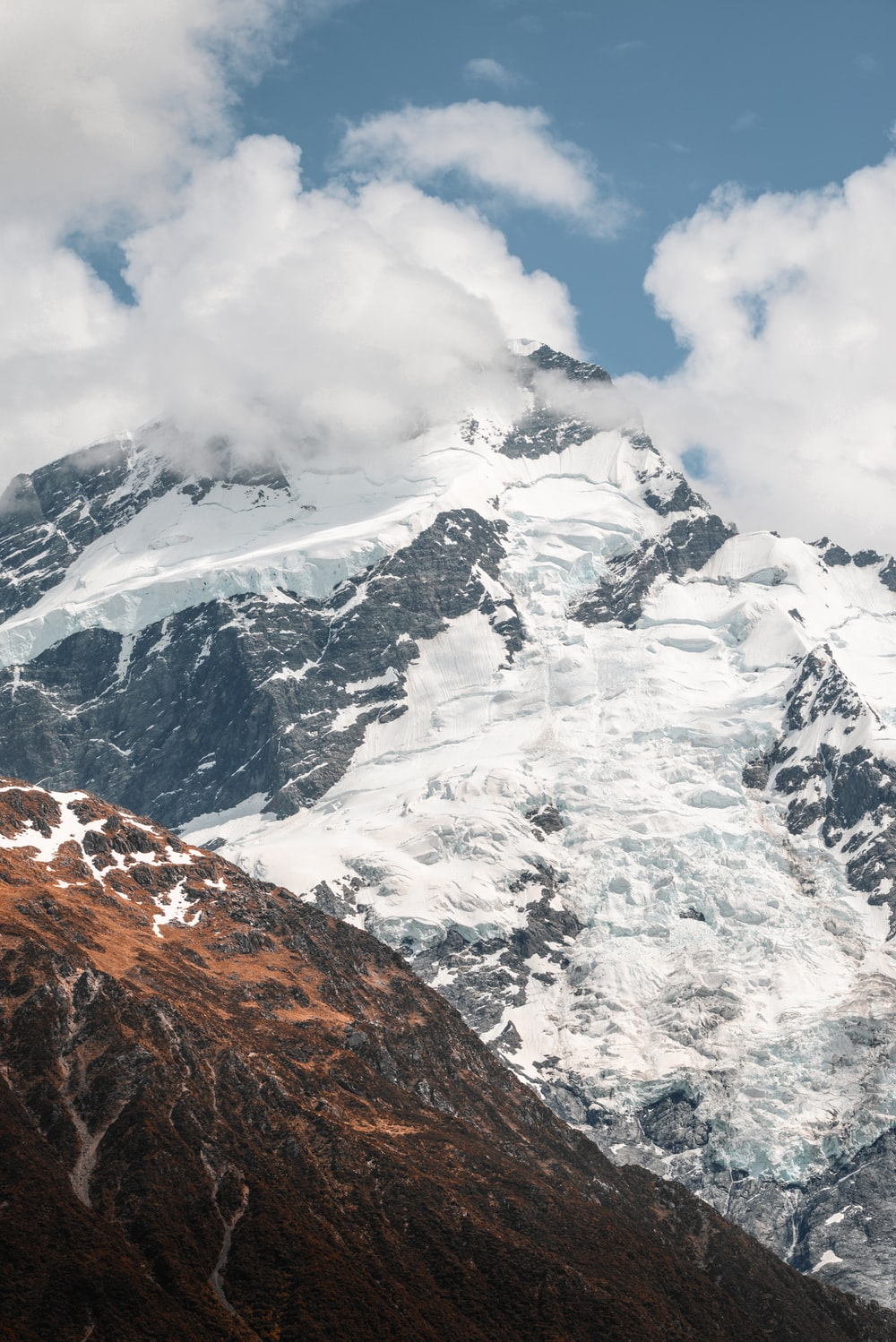 landscape photo of mountain covered snow