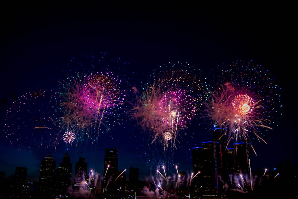 purple and pink fireworks