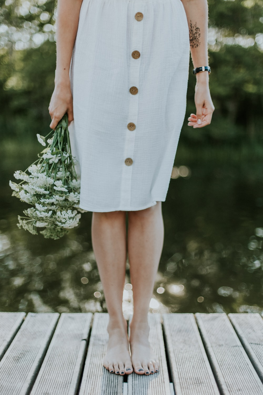 woman standing of bridge