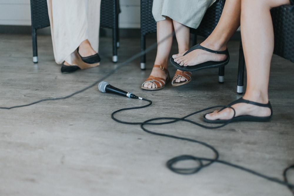 black microphone on floor