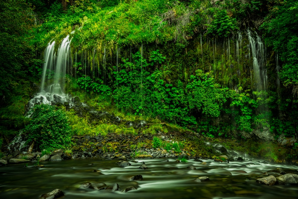 time lapse photography of multi-step waterfalls