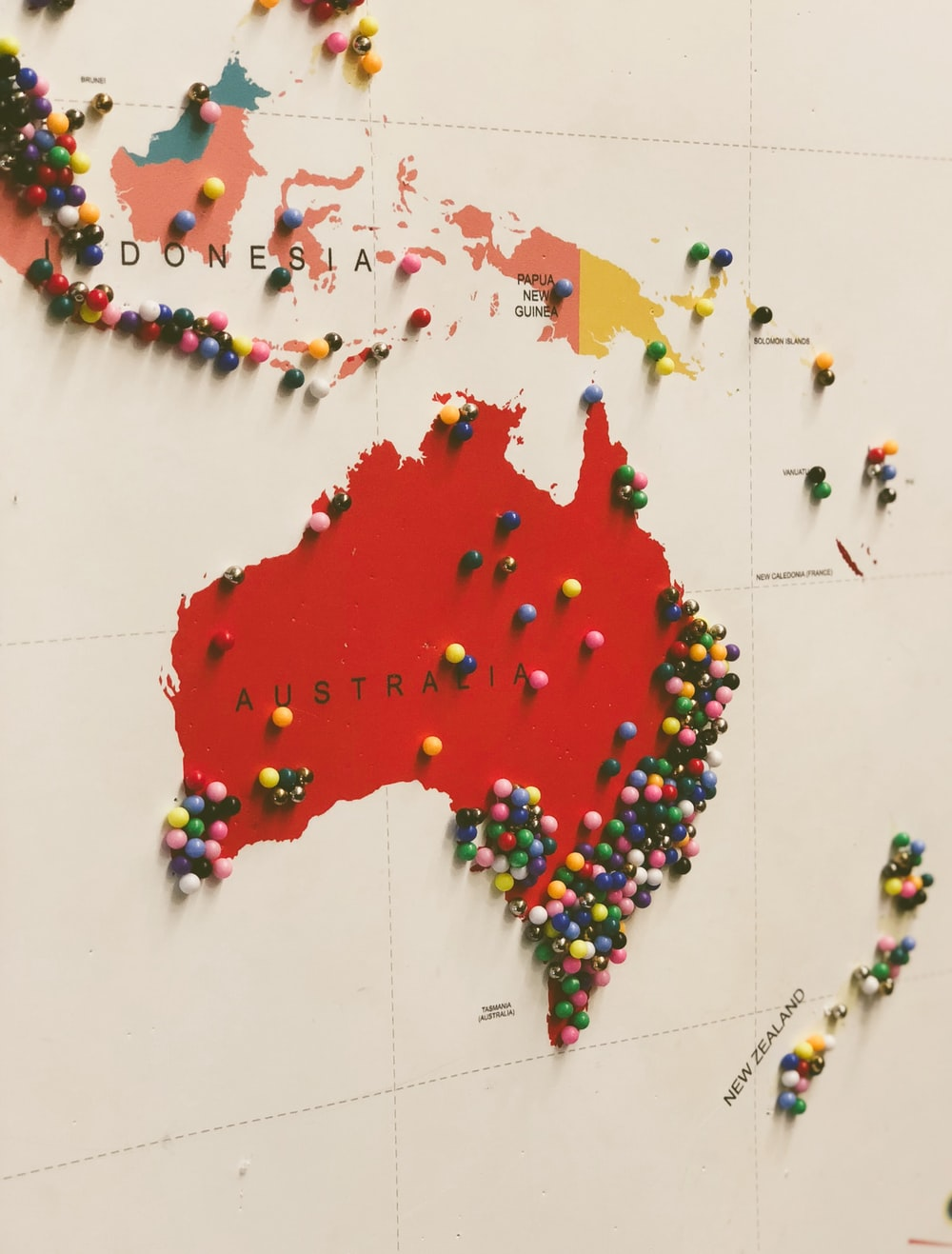 Australia map filled with pins