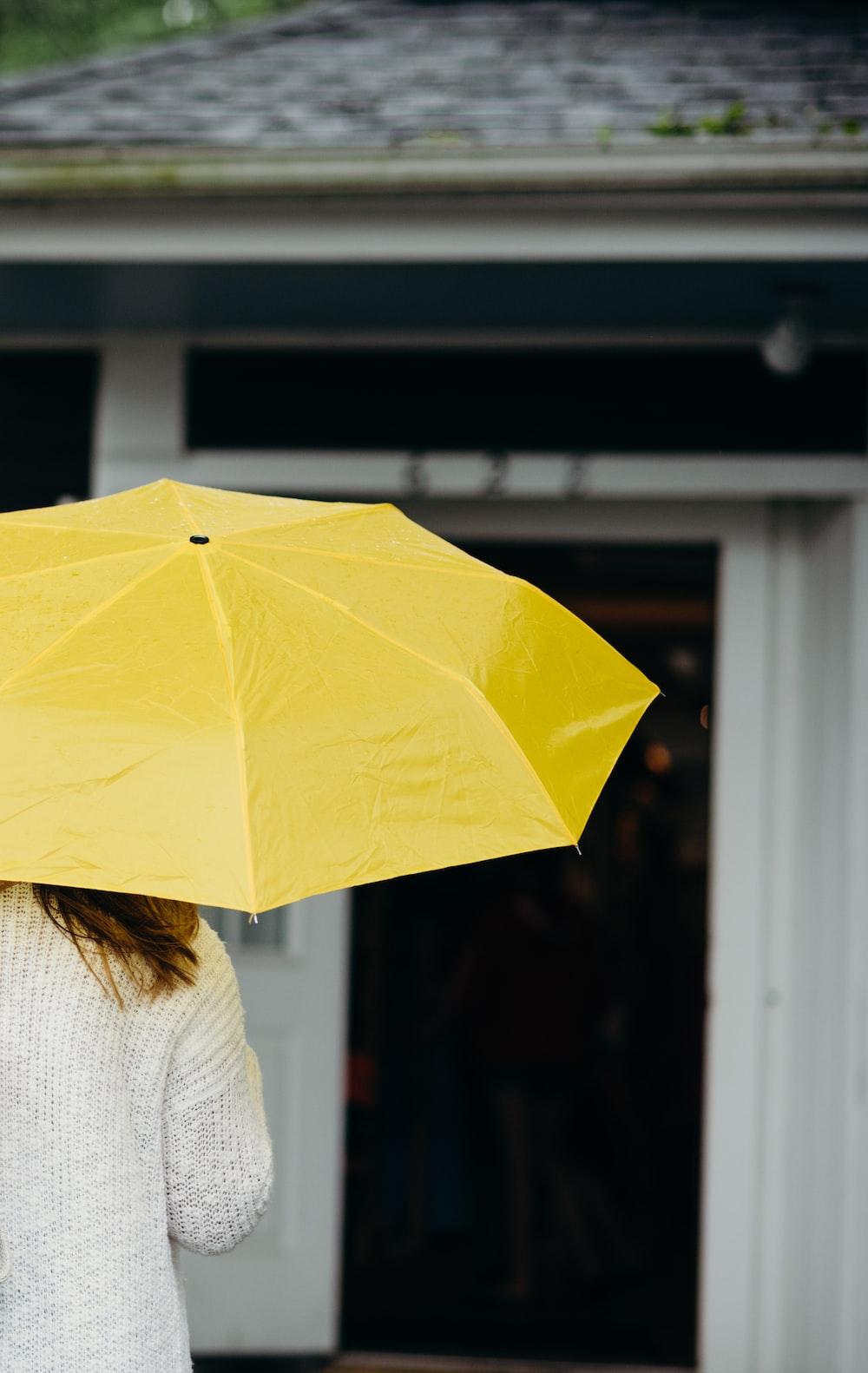 woman using yellow umbrella
