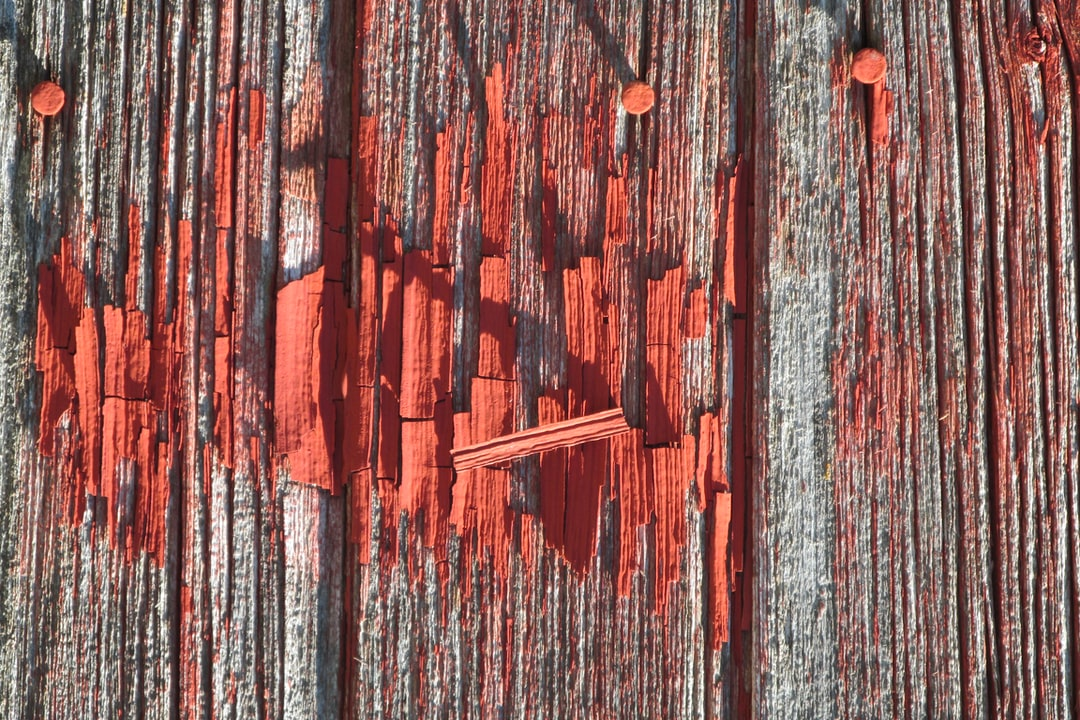 A hot summer day in mid-July 2016 at an abandoned farm site in Ogle County, Illinois. Some paint, apparently more durable than the rest, still clings to the weathered wood of the barn.