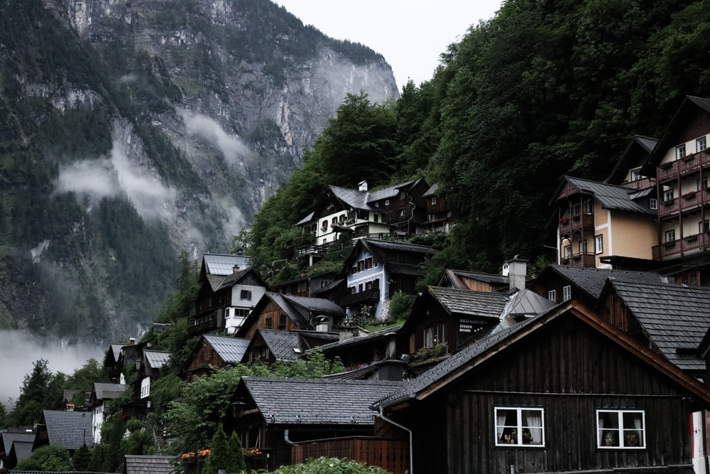 wooden houses near trees covered mountain during daytime