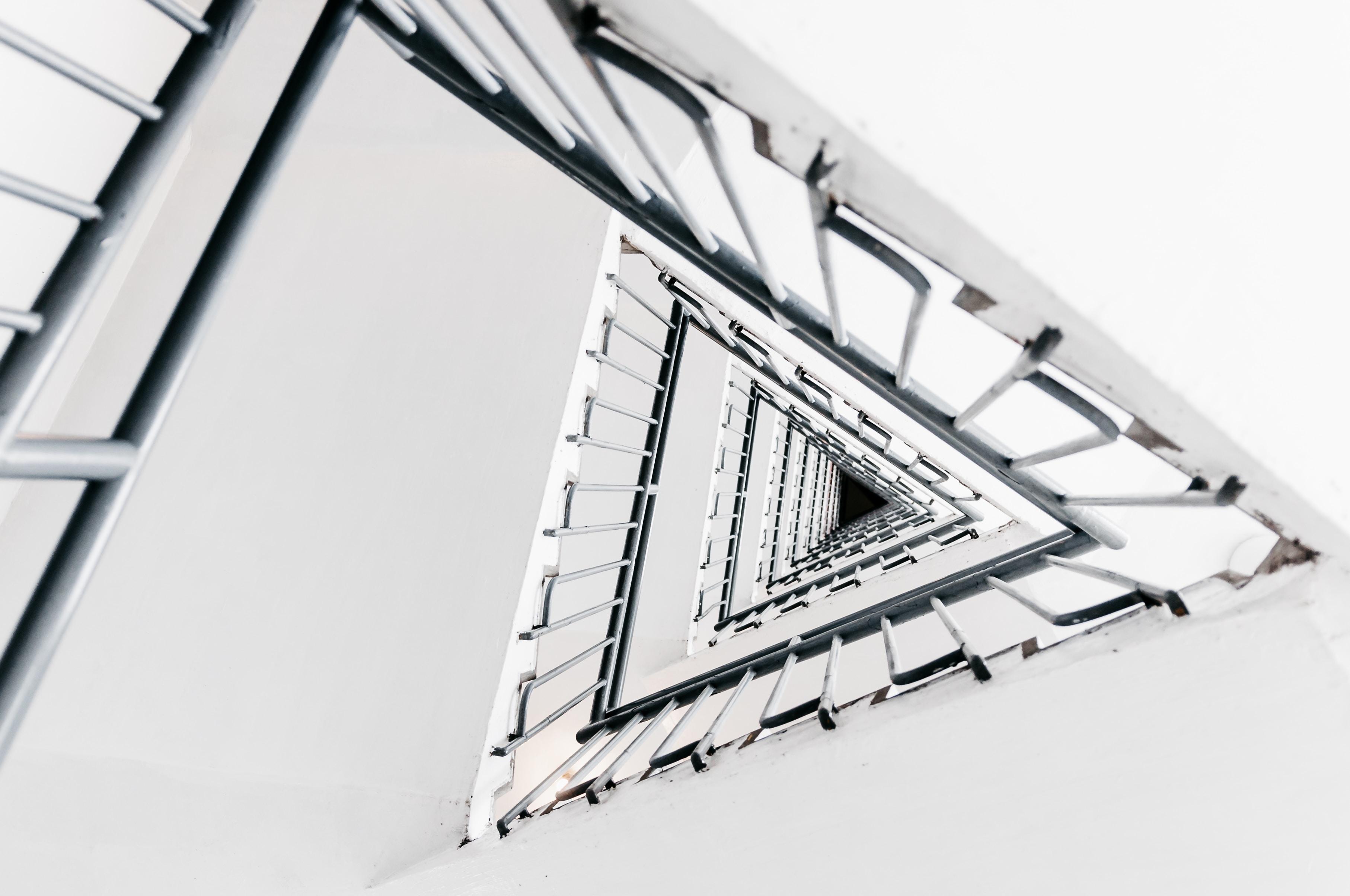 triangular white staircase