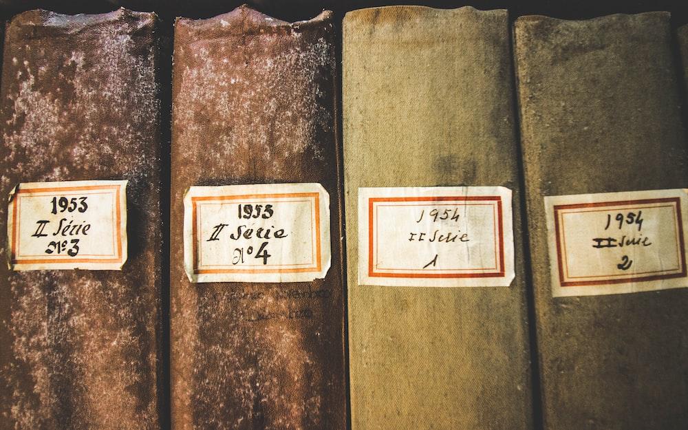 four hardbound books