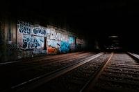 railway beside graffiti wall