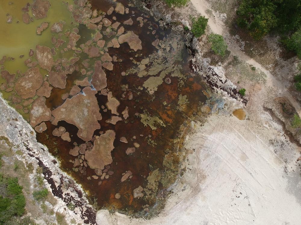 aerial photo of landmass