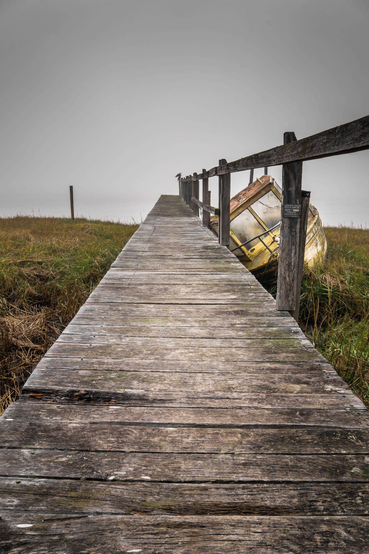 gray wooden dock bridge beside yellow boat