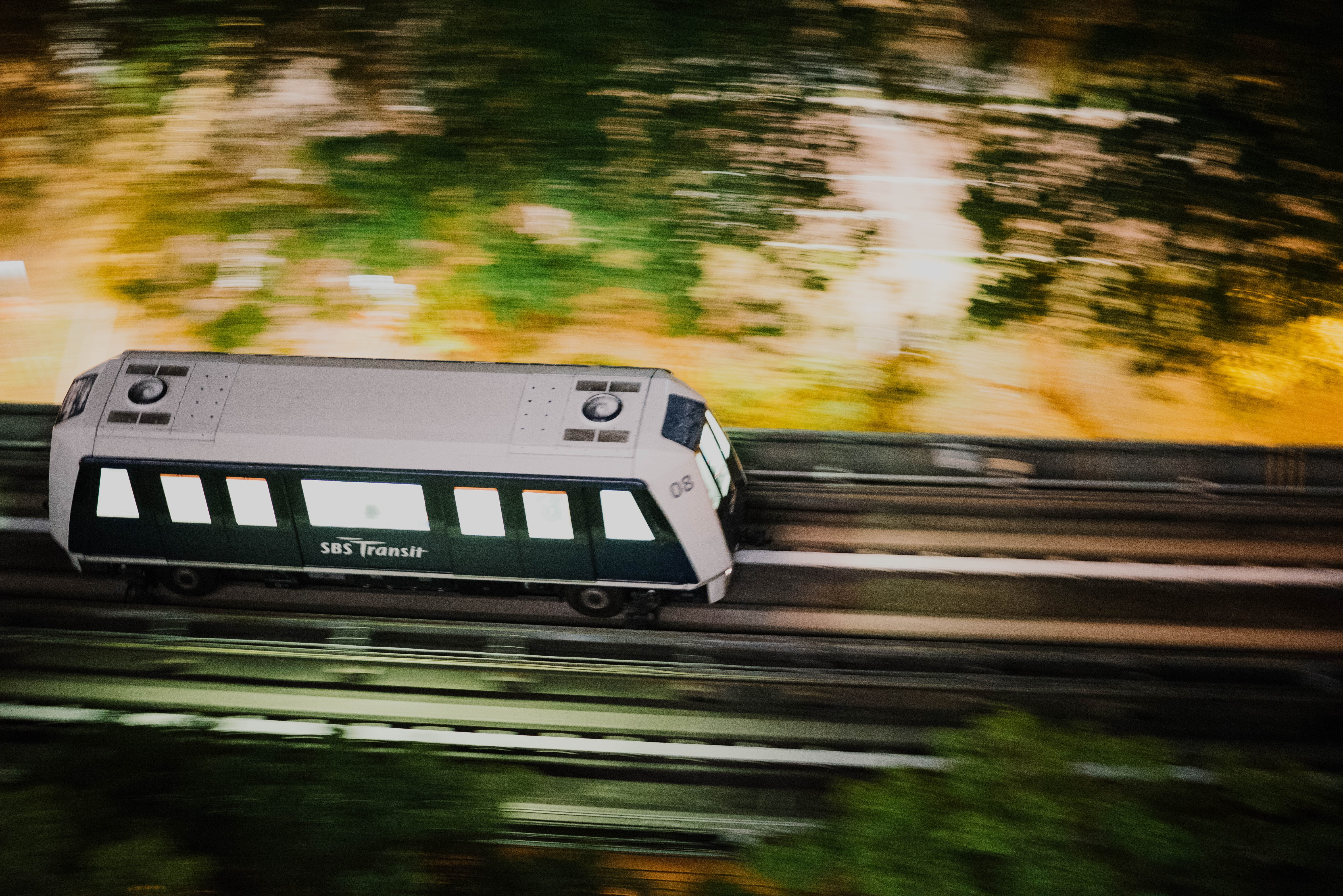 panning photography of train on railway