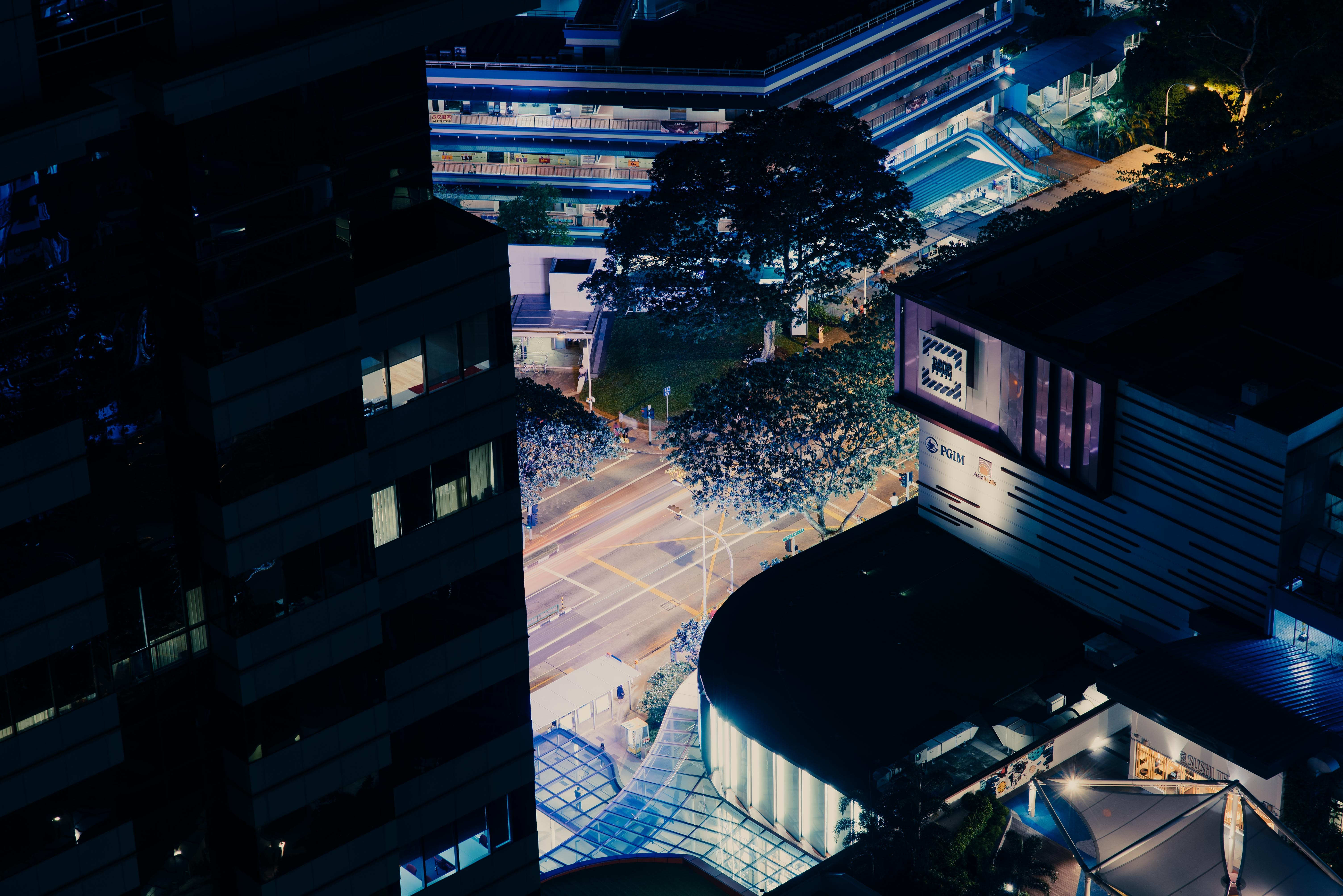 areal view of building at nighttime