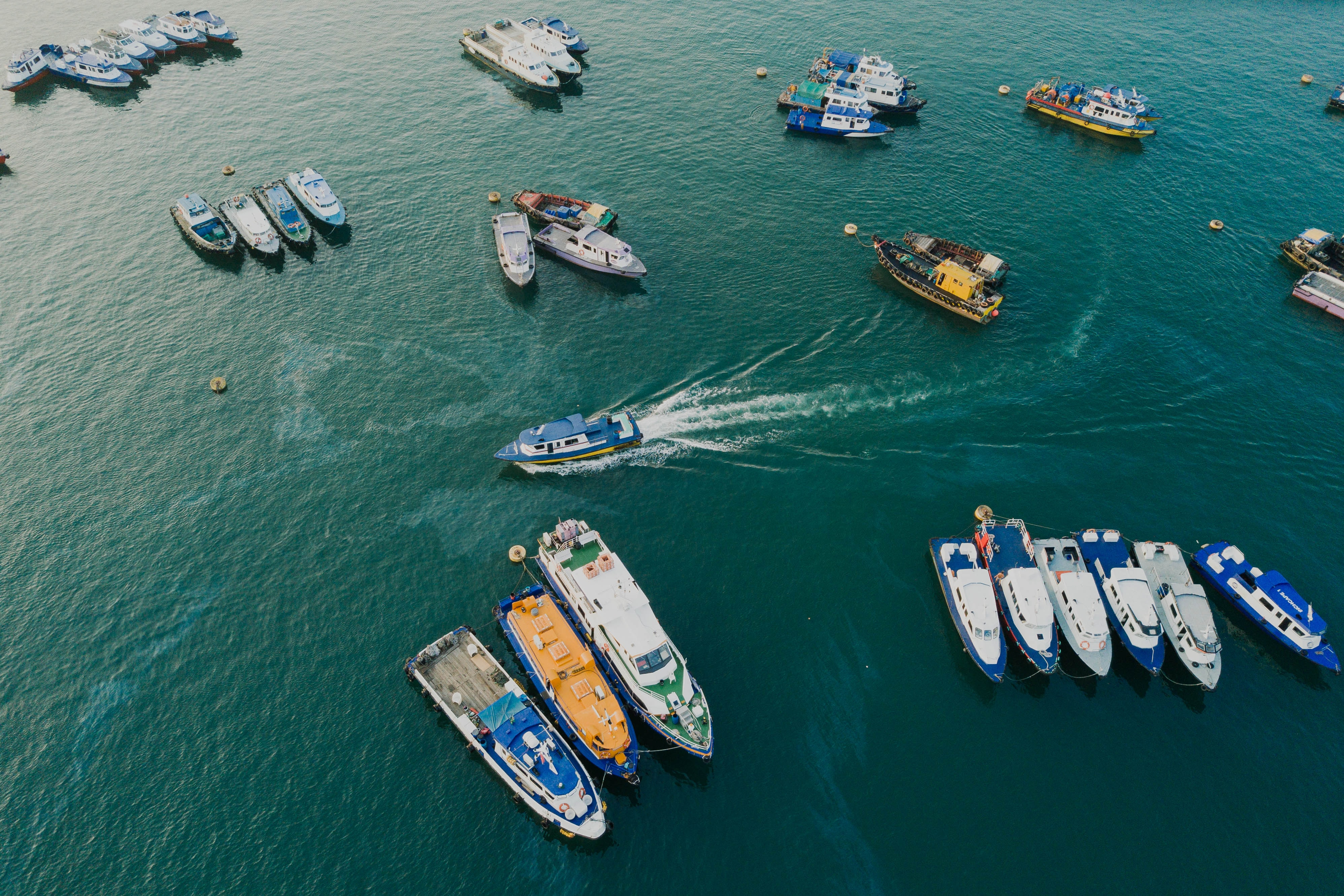 aerial view of yacht lot on body of water