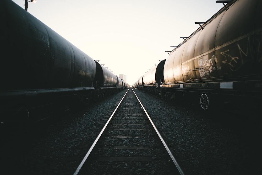 landscape photography of train railway