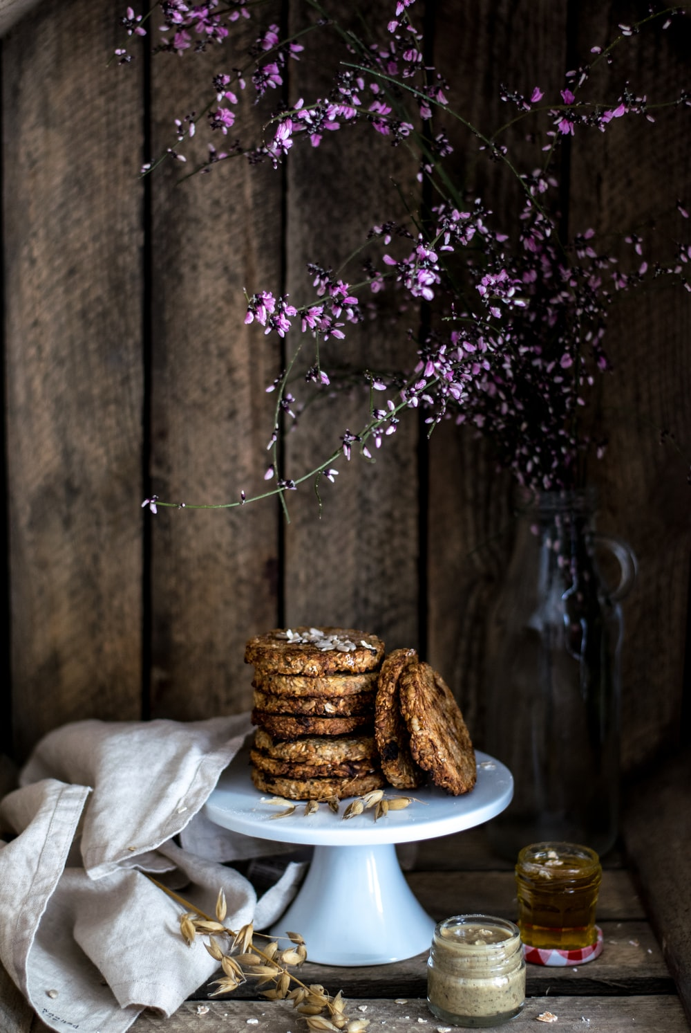 cookies on top of white ceramic footed tray