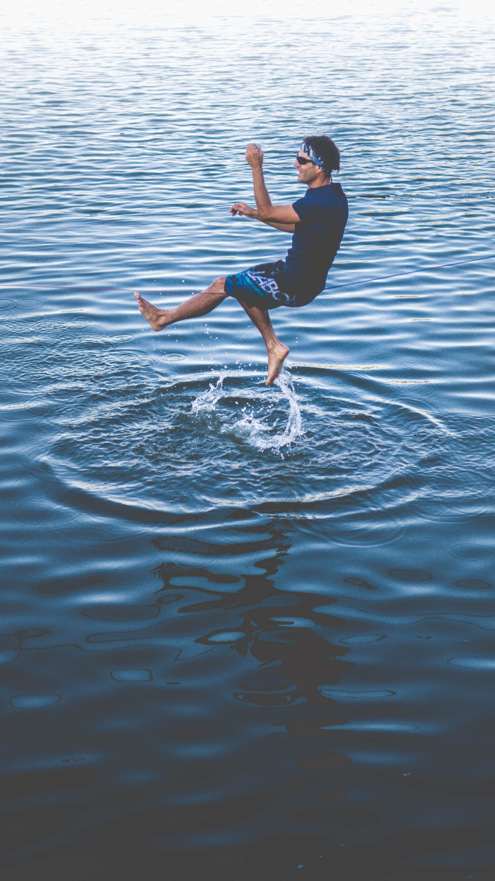 panning photograph of man on water
