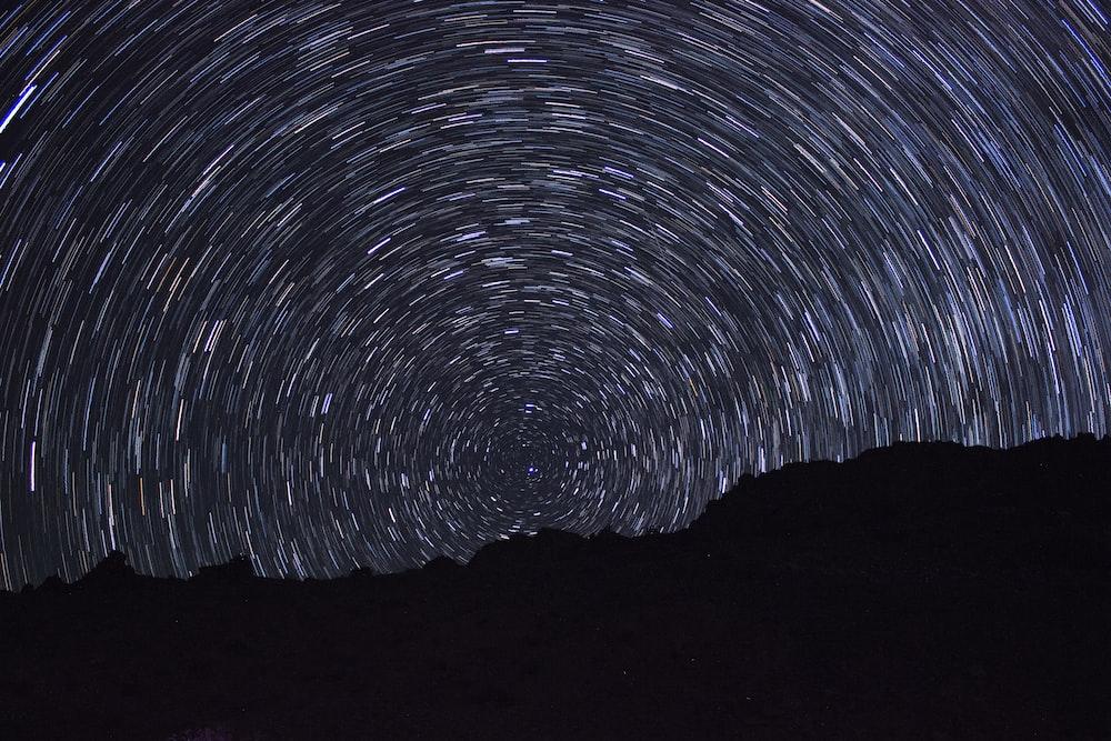 time lapse photography of polar stars