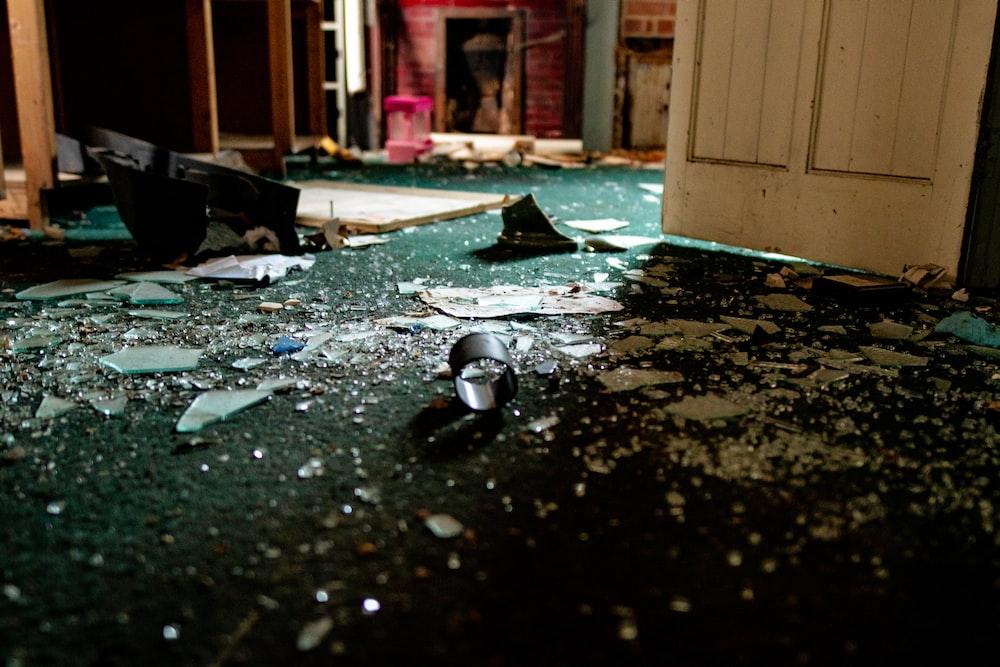 glass shards near door