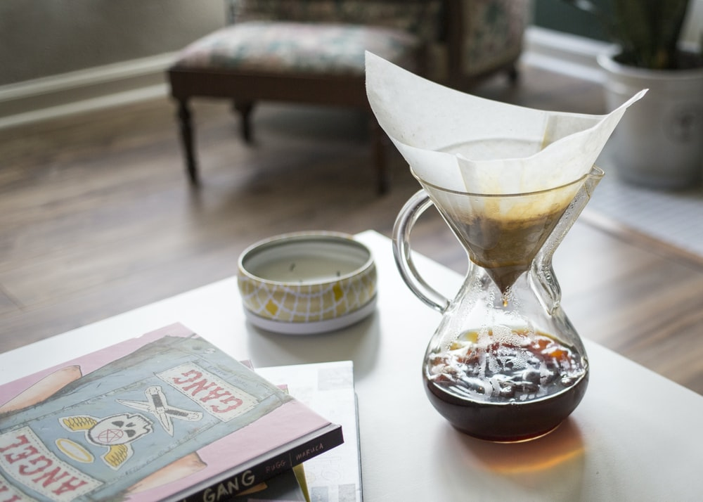 tea filling glass pitcher