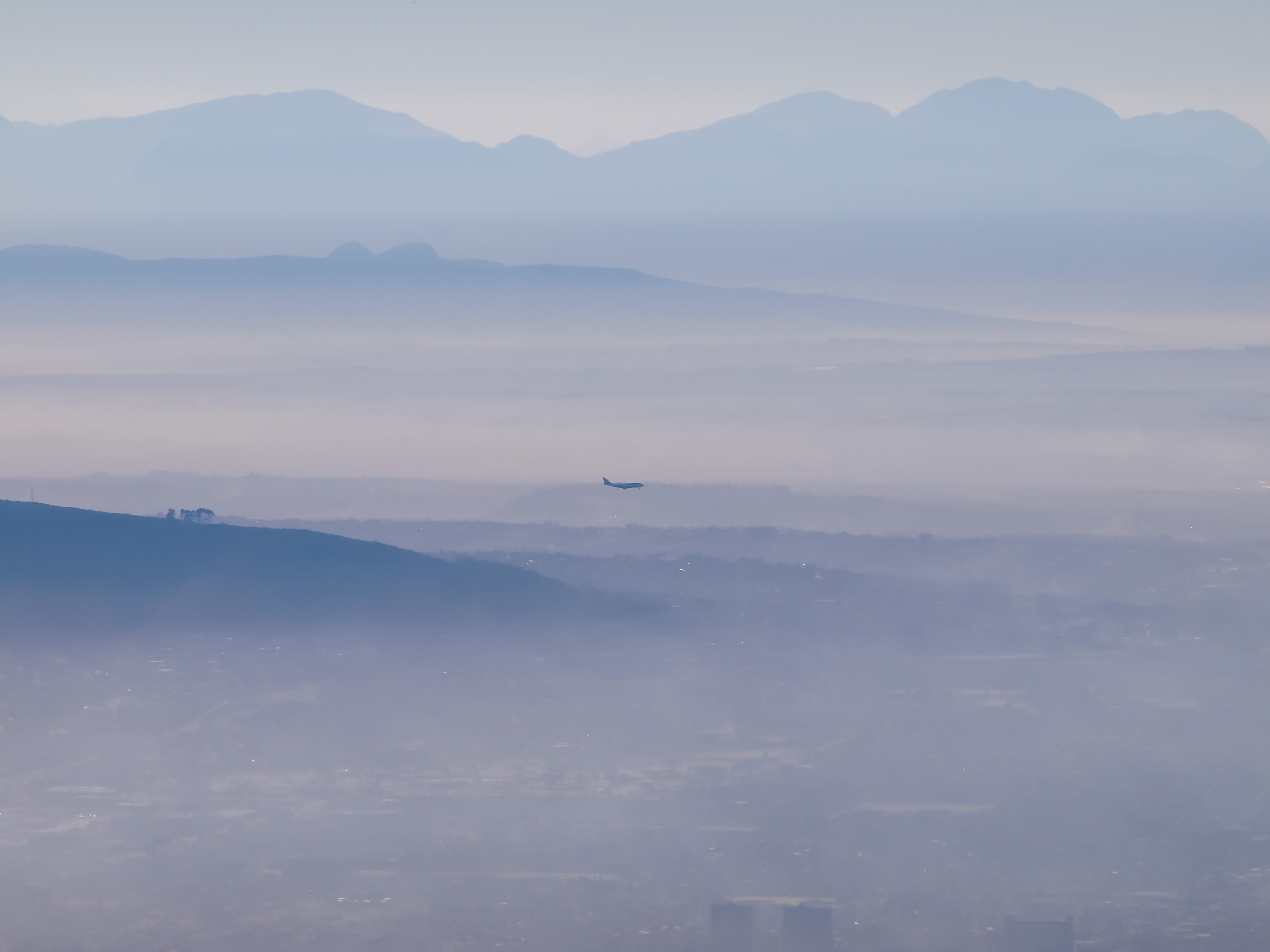 aerial view of city building covered with fog