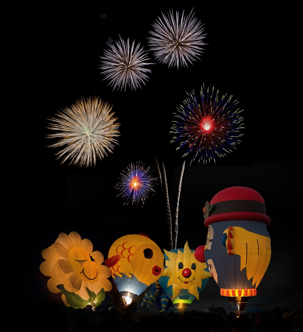 hot air balloons and fireworks display