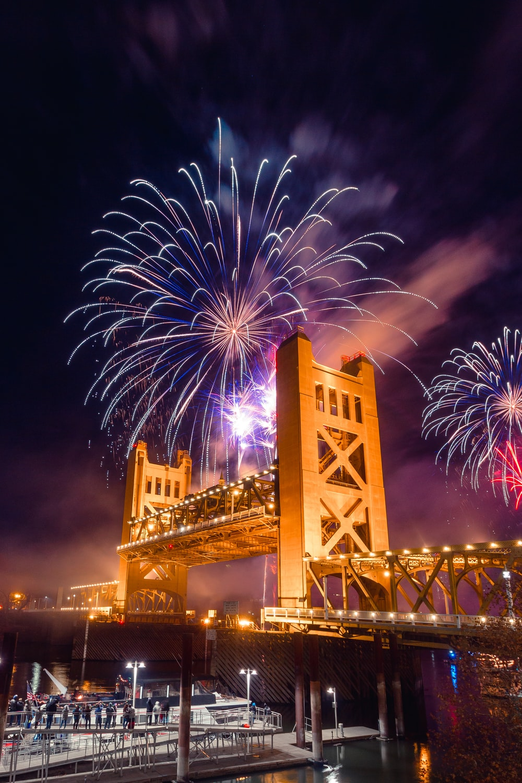 fireworks display digital wallpaper