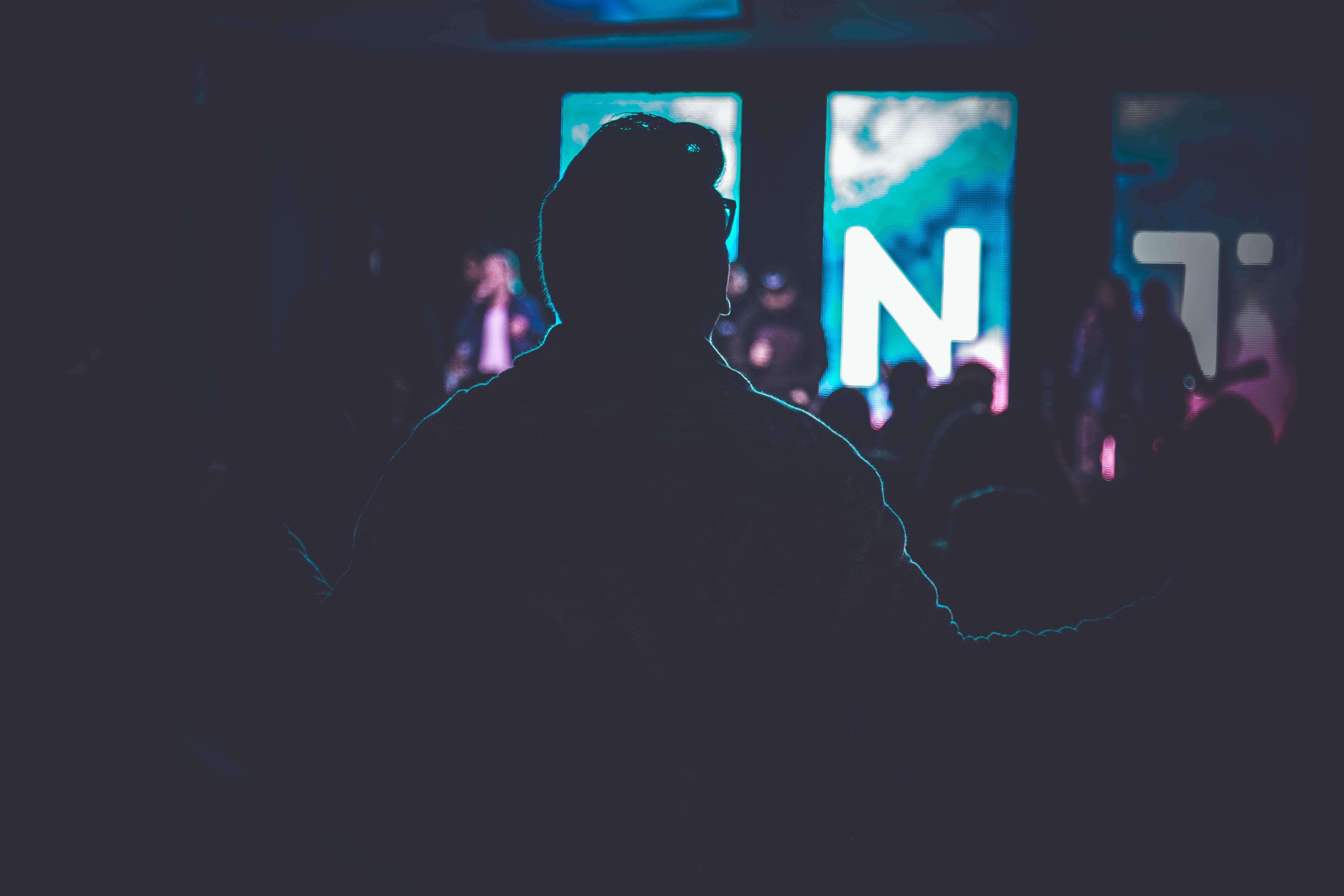 silhouette of people inside room