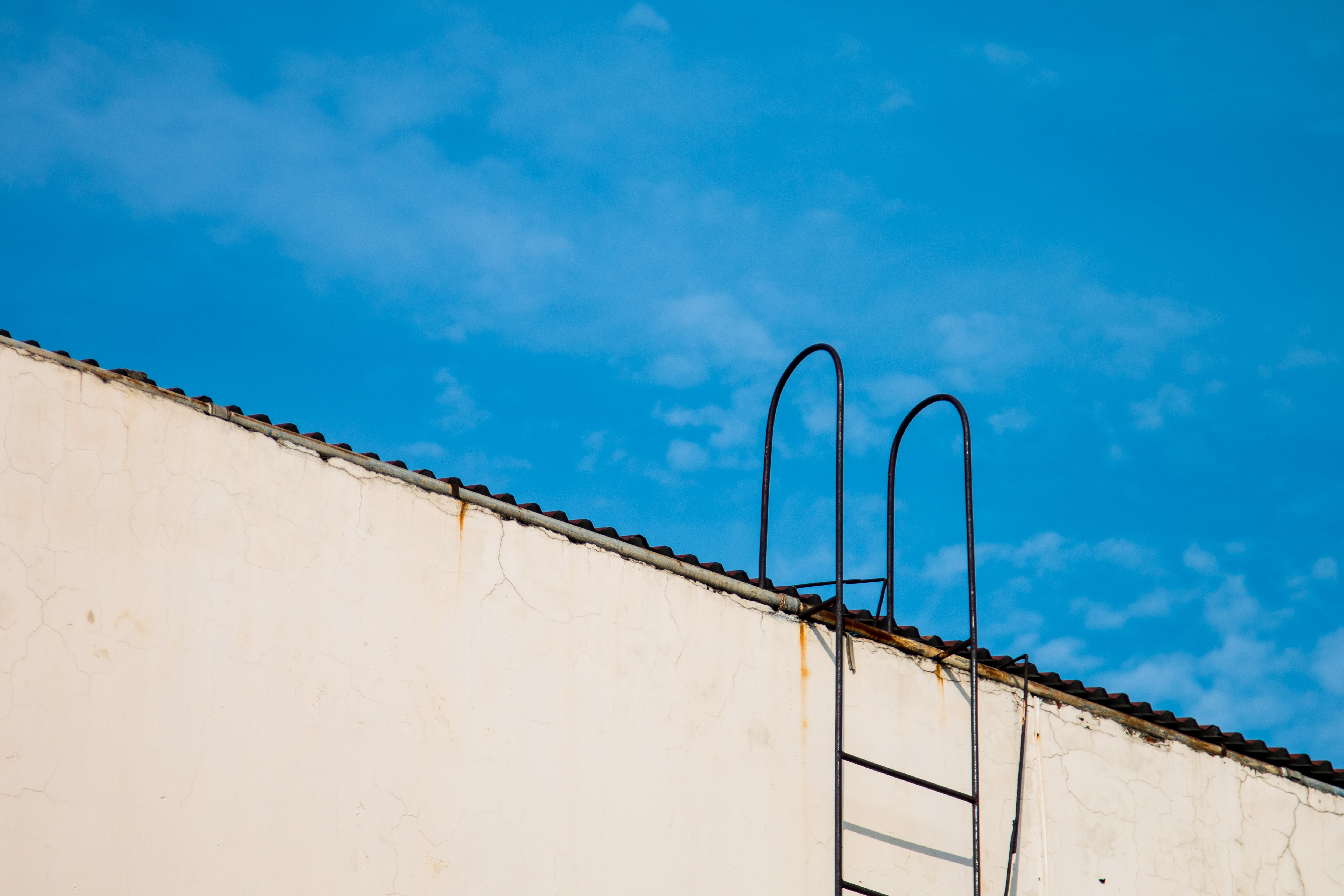 blue painted roof