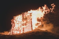 burning wood stack