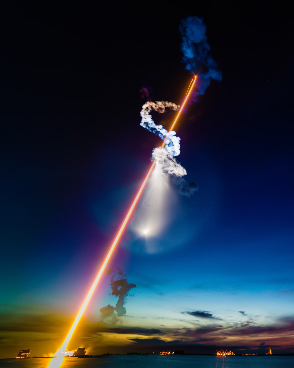 rocket launched at nighttime
