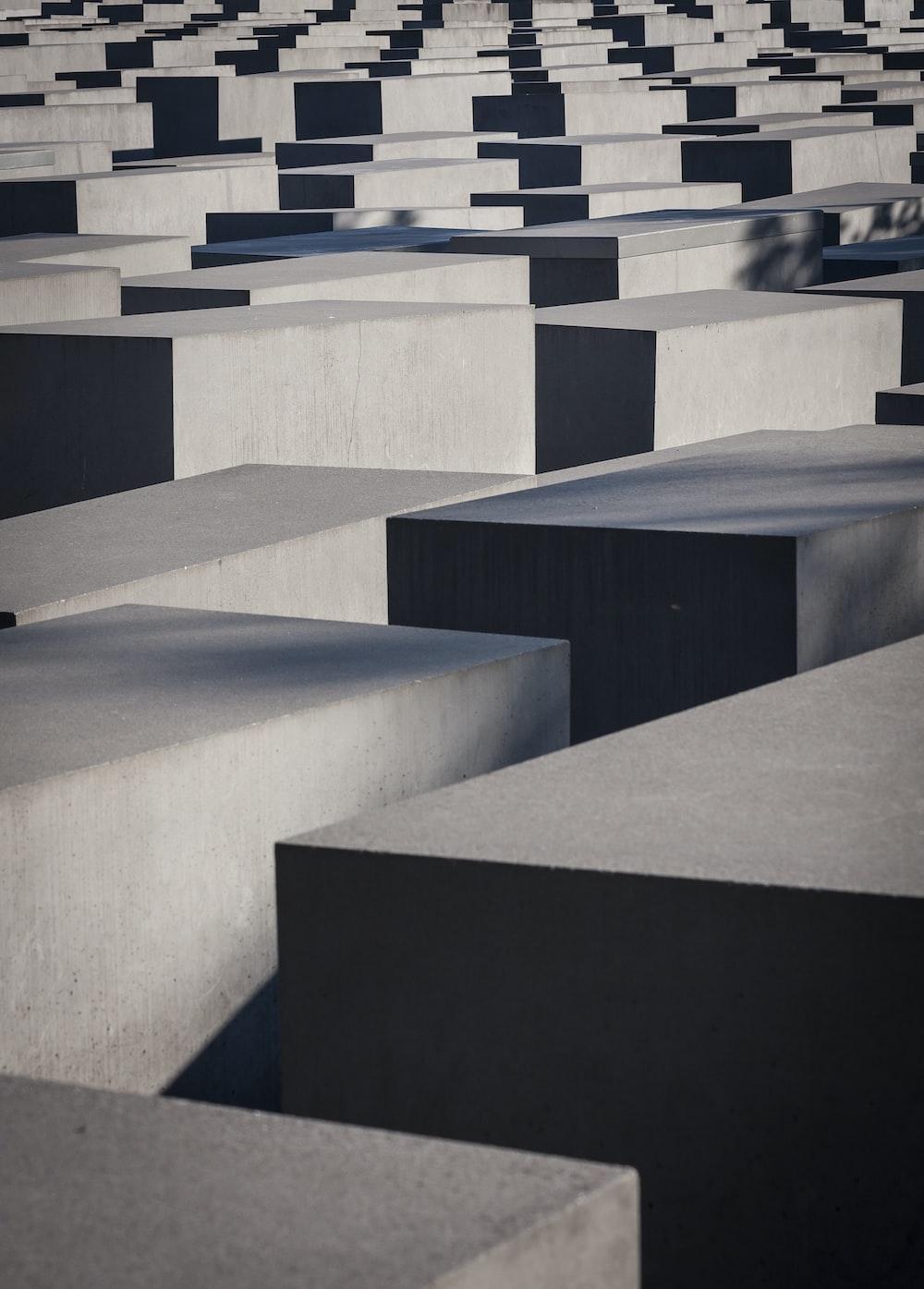 gray cube maze blocks photography