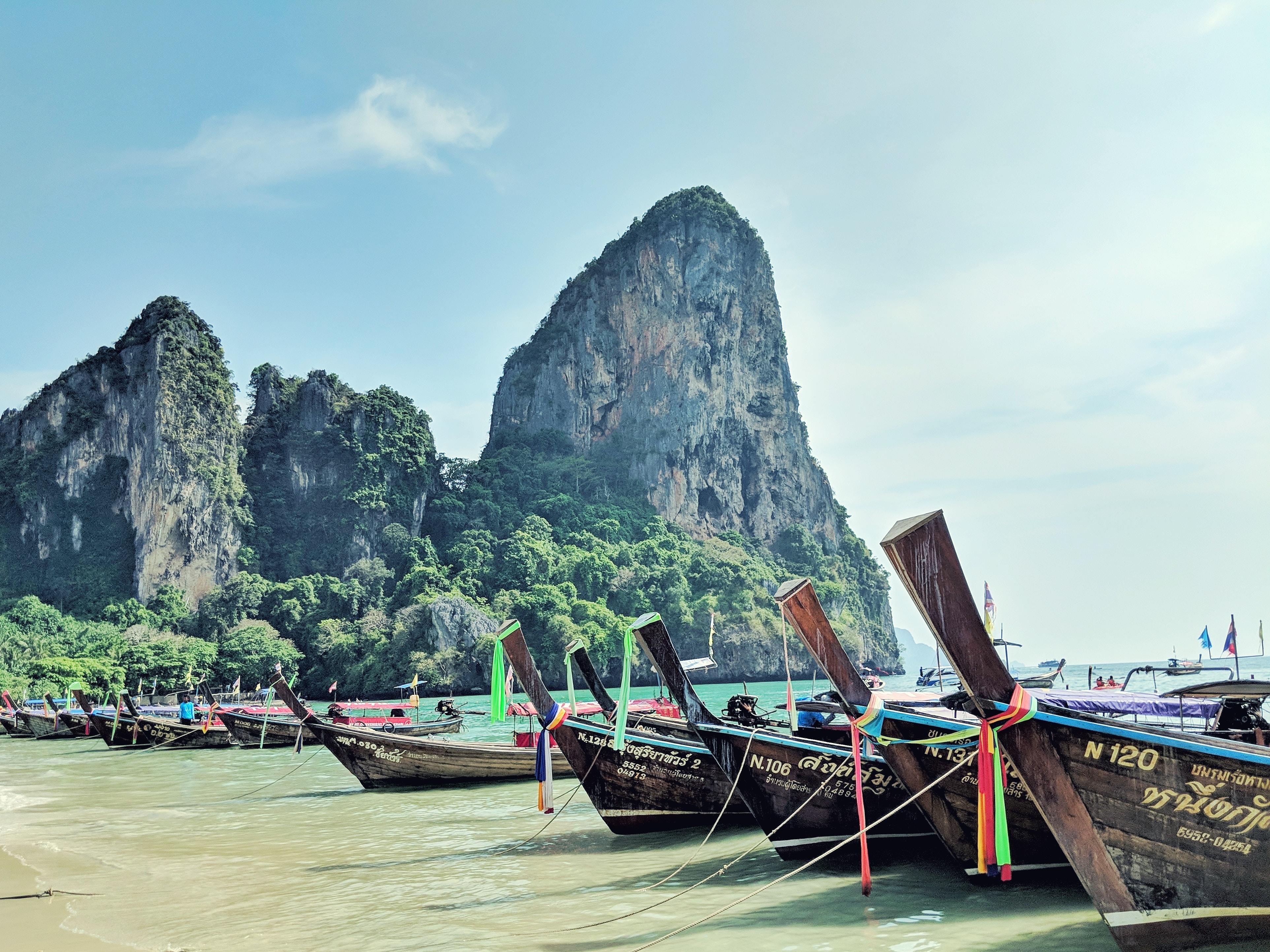 boats on beach shore