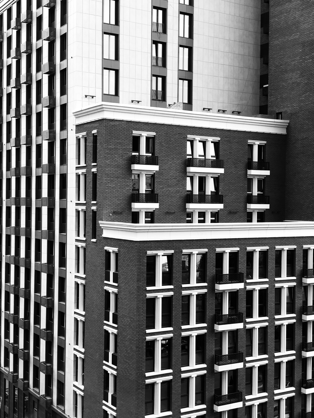 black and white high-rise building