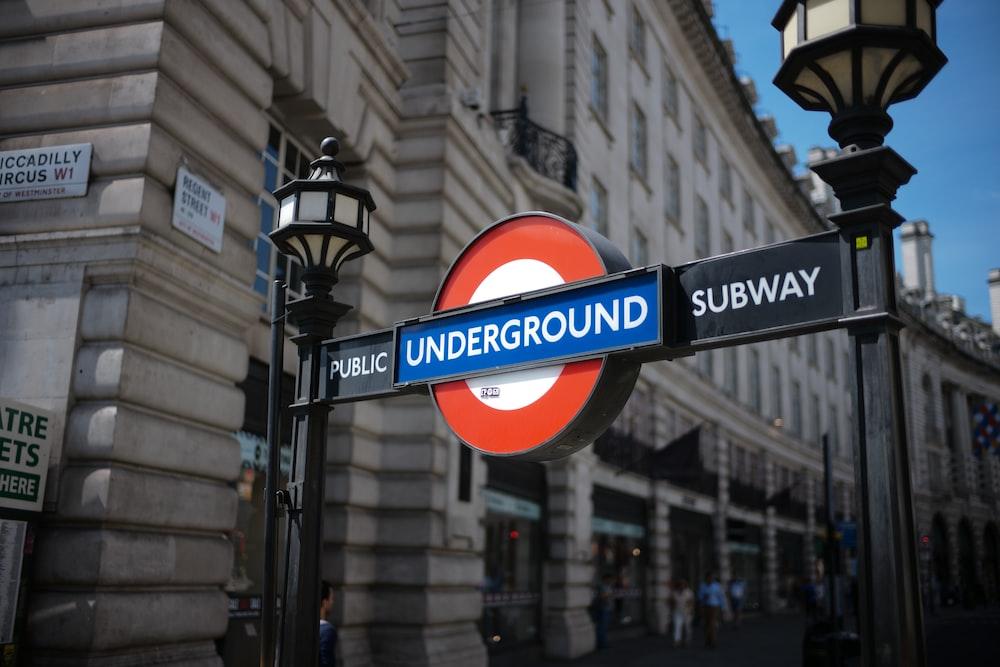 Underground subway signage near building