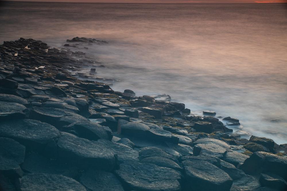 rocks beside beach