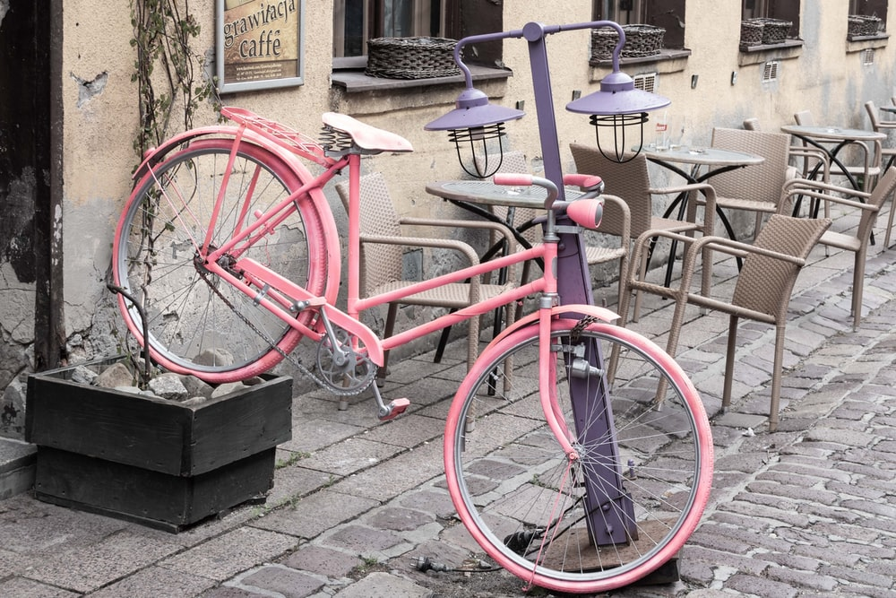 pink mstep-through bike
